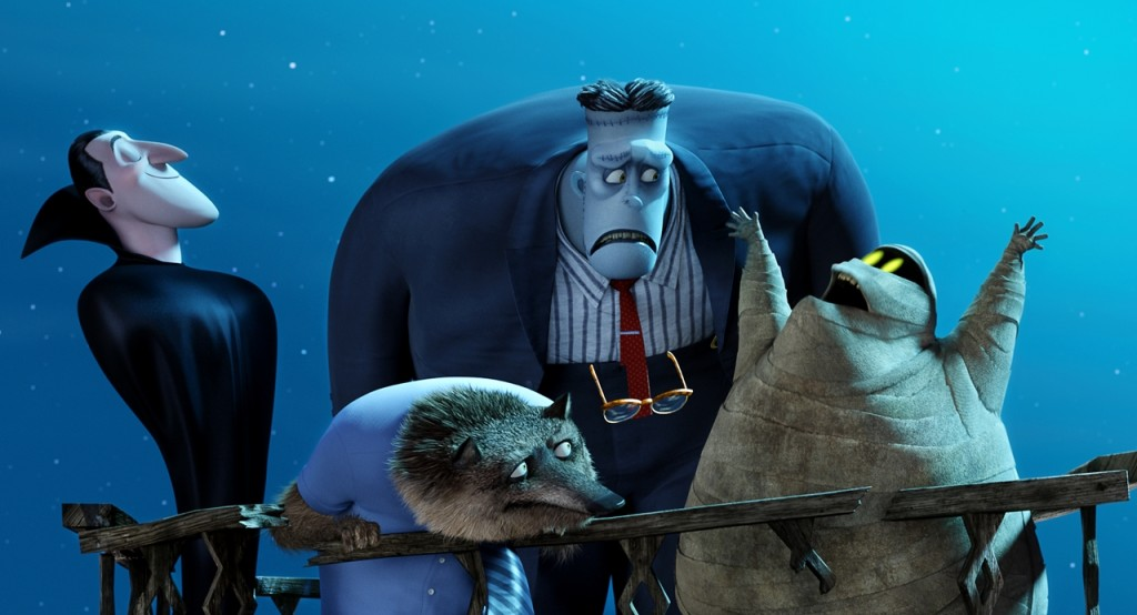 Dracula (Adam Sandler), Frank (Kevin James), Wayne (Steve Buscemi), Griffin the Invisible Man (David Spade) and Murray (Keegan-Michael Key) in Columbia Pictures and Sony Pictures Animations' HOTEL TRANSYLVANIA 2.